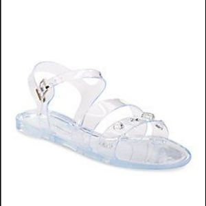 New clear jelly juno studded sandals shoes Sz 10
